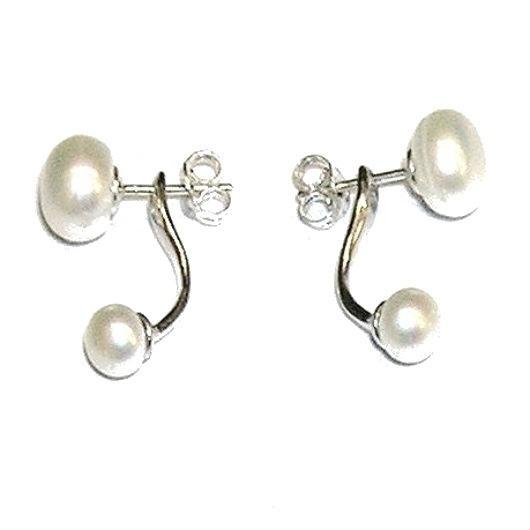 66fbb50fc938 Pendientes Dobles. Perlas cultivadas 2 en 1 y Plata de Ley - Joyas y ...