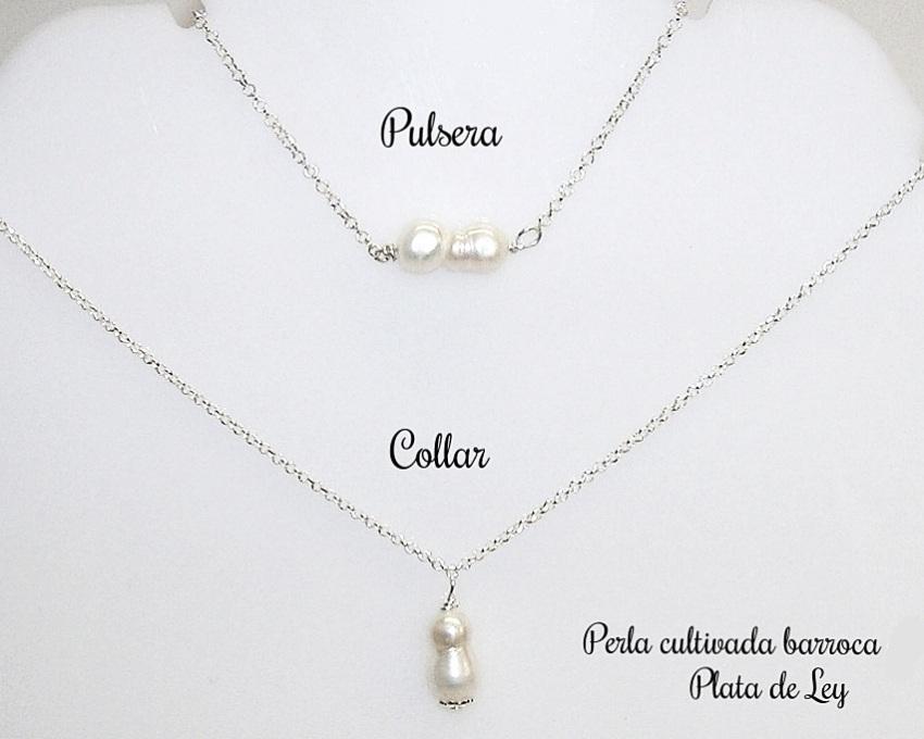 d6fbdc2054b4 Conjunto de COLLAR y PULSERA Plata de Ley y Perla Cultivada - Joyas ...