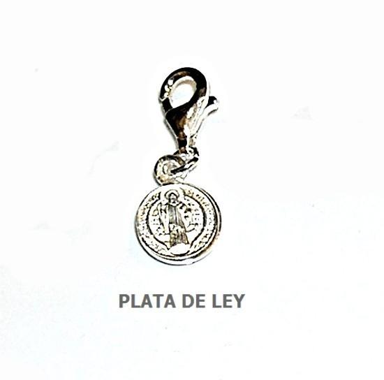 76fac4ba6c8 Colgante Charm Medalla San Benito Plata de Ley - Joyas y diseños Carel