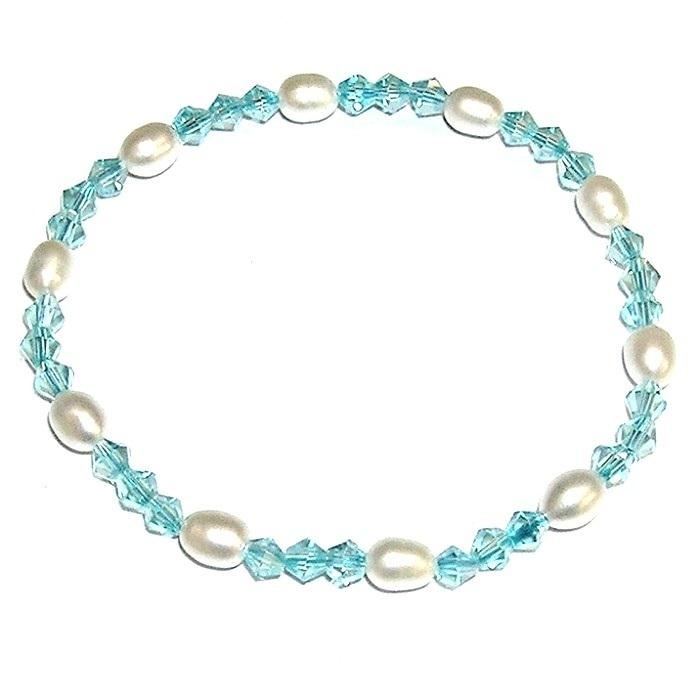 49a9286ce870 Pulsera de perlas cultivadas y Cristales Azules - Joyas y diseños Carel