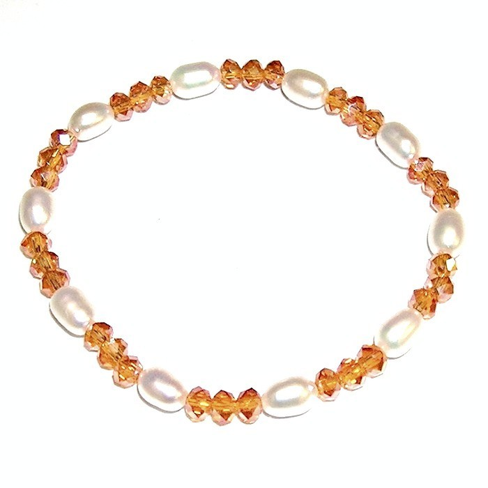 ea891de31e5d Pulsera de perlas cultivadas y Cristales Naranja - Joyas y diseños Carel