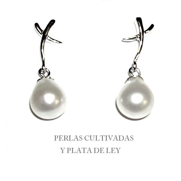 c4e3b672b297 Pendientes Plata de Ley y Perlas Cultivadas perilla 8 mm - Joyas y ...