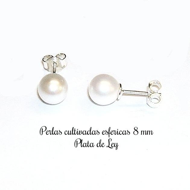41dd36586ae4 Pendientes de Perlas cultivadas esféricas 8 mm y Plata 925 - Joyas y ...