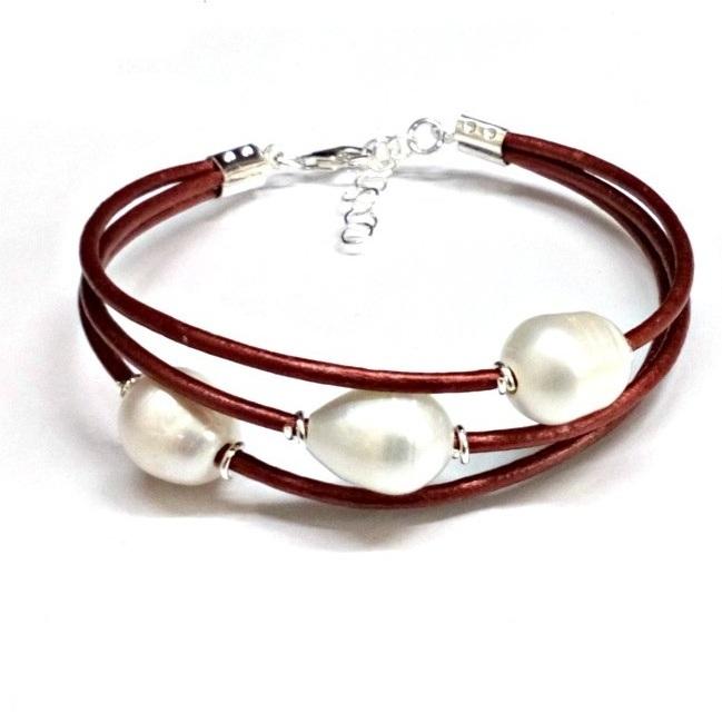 a30450d99b81 Pulsera de 3 Perlas cultivadas Cuero bronce Plata de Ley