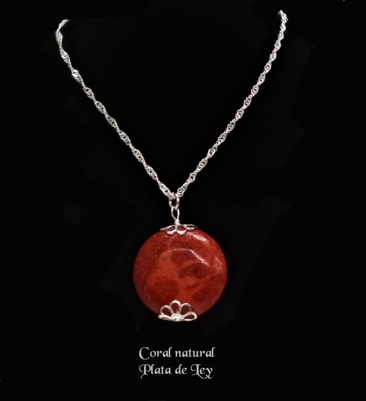 0ff8d3fc0376 Collar Colgante de Coral y Cadena Plata de Ley - Joyas y diseños Carel