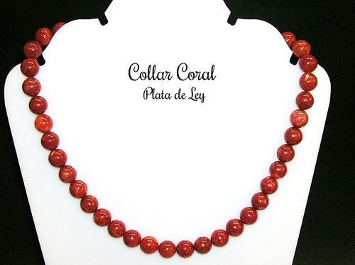 Collar de Coral natural 10 mm y Plata de Ley