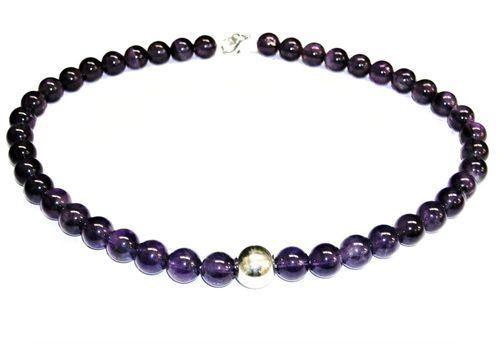 740b74a40ccb Collar de Amatista natural 1ª calidad piezas esféricas y bola Plata